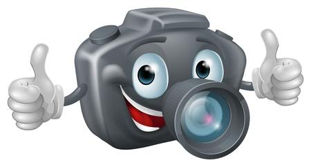 Una caricatura feliz mascota cámara sonriendo y dando un pulgar hacia arriba dobles