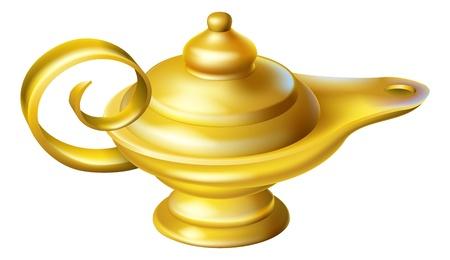 Ilustración de una lámpara de aceite pasado de moda como un un genio podría saltar en una historia de Aladdin