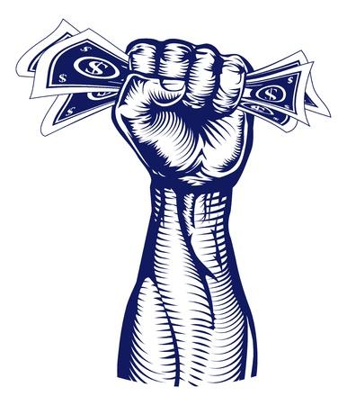 Eine revolutionäre Faust hält eine Hand voll Dollar-Scheine Geld
