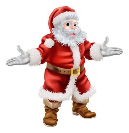 Christmas cartoon illustration of full body standing happy Santa Claus Illustration