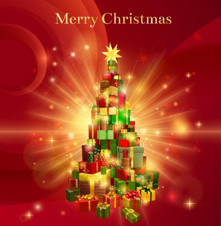 Une conception de fond rouge avec une pile ou une pile de cadeaux de Noël ou des cadeaux sous la forme d'un arbre de Noël