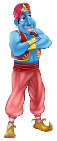 Illustration of a friendly looking blue cartoon genie standing with his arms folded