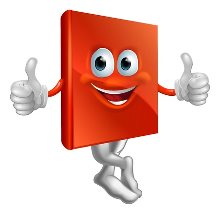 A cartoon illustration of a red book character giving a thumbs up Stock Vector - 16242847