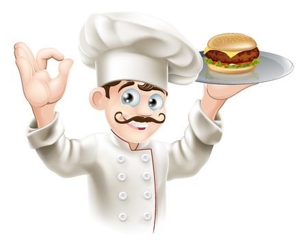 Illustration of a chef holding a gourmet burger on a tray