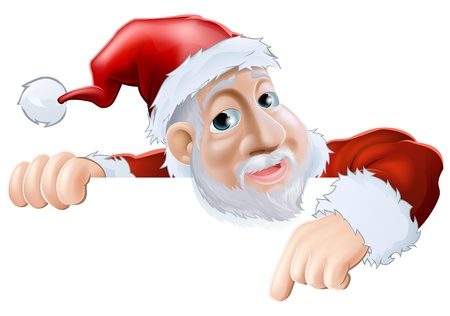 An illustration of a happy cartoon Santa smiling and pointing down Illustration