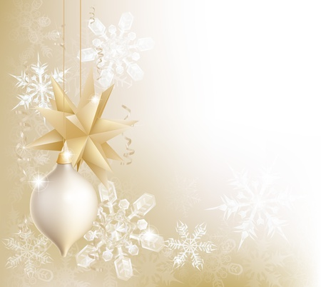 A gold snowflake and Christmas bauble decoration background with hanging ornaments, abstract snow flakes and ribbons Illustration