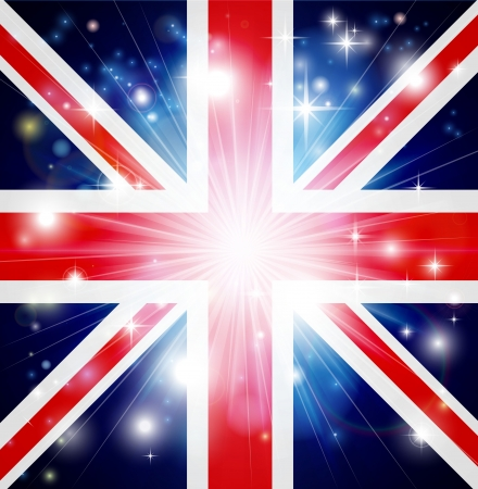 Union Jack flag of United Kingdom background with pyrotechnic or light burst and copy space in the centre