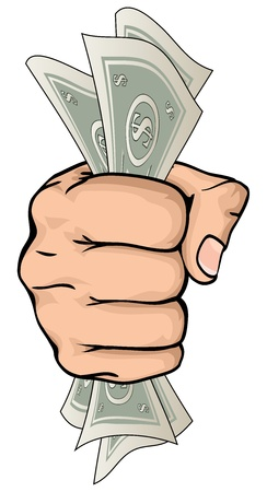 A drawing of a hand holding paper money money with dollar signs