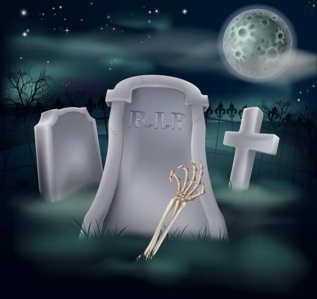 Illustrazione di una mano scheletro non morto e il braccio di raggiungere su una tomba spettrale