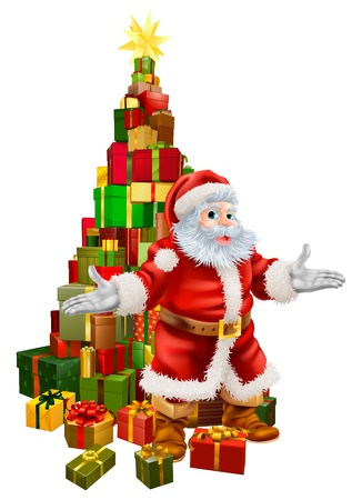an illustration of happy christmas santa claus with a large stack of presents or gifts in - Christmas Decorations Large Santa Claus