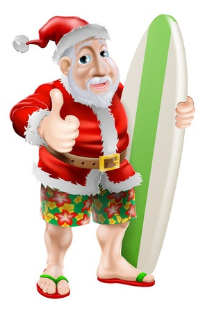 An illustration of Santa in flip-flop sandals and beach board shorts holding a surf board and doing a thumbs up