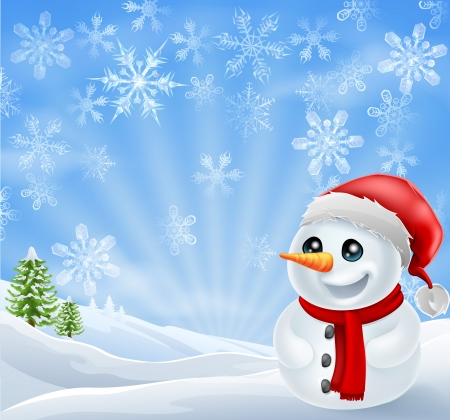 A happy Christmas Snowman in snowy scene with snow flakes