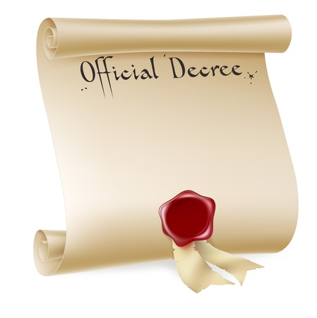 Un elemento de diseño de fondo de un documento histórico antiguo desplazarse documento o decreto con sello de cera roja. Ilustración de vector
