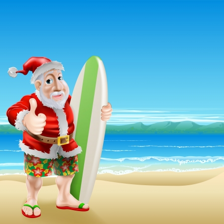 An illustration of Santa Claus standing in shorts and sandals on a beach holding a surfboard and doing a thumbs up Illustration