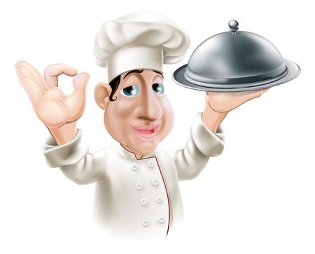 Illustratie van een cartoon vriendelijke vrolijke chef-kok met zilveren dienblad glimlachen en het doen van goed teken