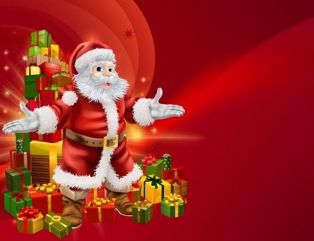 Red Santa and a stack of presents background with lots of copyspace for you text on the right.