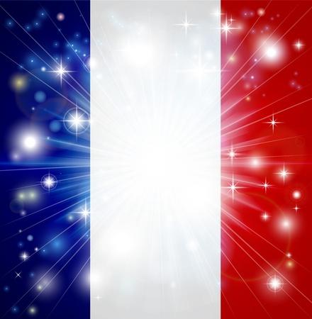 Bandiera della Francia con sfondo scoppio pirotecnico o la luce e lo spazio della copia nel centro