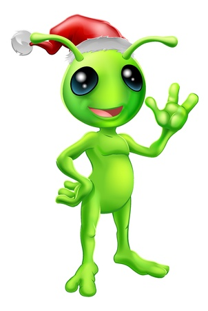 Illustration of a cute cartoon little green man alien mascot with Santa hat Christmas outfit smiling and waving
