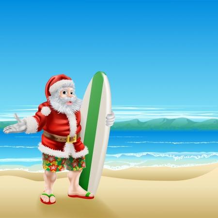 Summer Santa in beach wear, long board shorts or Bermuda shorts and flip-flop sandals, holding a surfboard on a sunny beach.