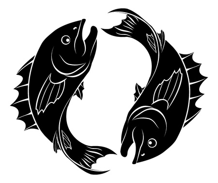 An illustration of stylised fish forming a circle perhaps a fish tattoo