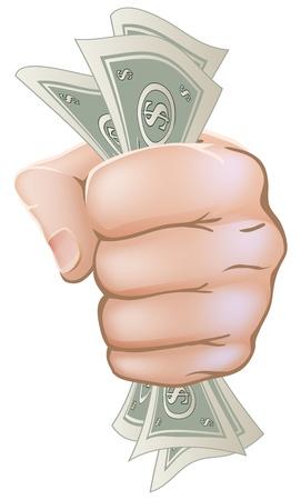 Una ilustración de una mano con un puño lleno de billetes de dólar
