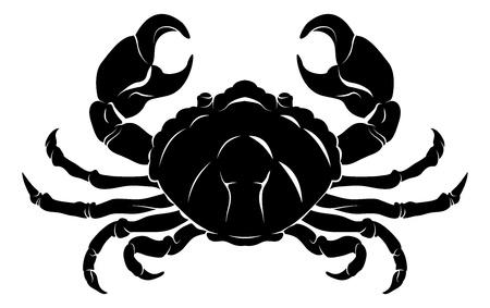 Une illustration d'un crabe noir stylisé peut-être un tatouage de crabe Vecteurs