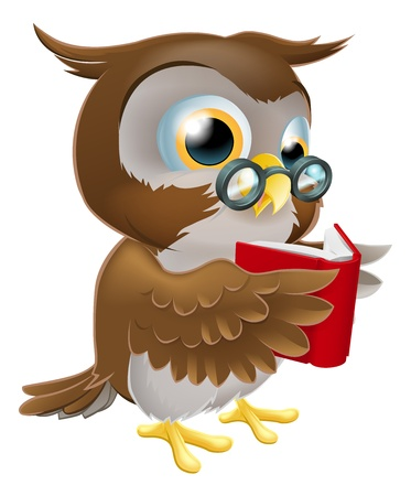 An illustration of a cute wise cartoon owl character wearing glasses and reading a book Illustration