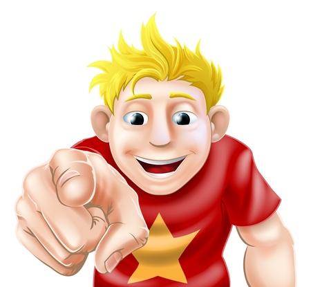 Een illustratie van een cartoon man of jongen lachen of glimlachen en wijzend op de kijker