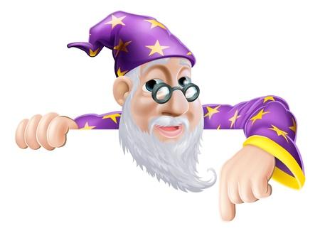 Una ilustración de un lindo carácter amable viejo mago encima de una señal o bandera hacia abajo a lo