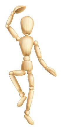 Une illustration d'une figure de danse en bois ou la marionnette