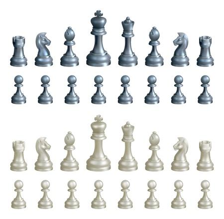 Een illustratie van een complete set van schaakstukken in zwart-wit Vector Illustratie