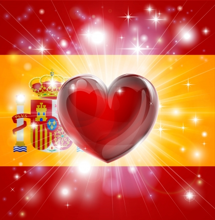 Flag of Spain patriotic background with pyrotechnic or light burst and love heart in the centre