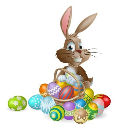 Coniglietto di Pasqua con cesto di Pasqua pieno di uova di Pasqua decorate