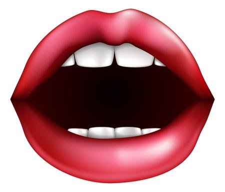Een illustratie van een open mond misschien praten of zuchten