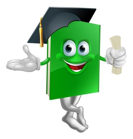 Ilustración de una mascota de graduación de Educación libro verde con una gorra birrete y la celebración de un certificado.