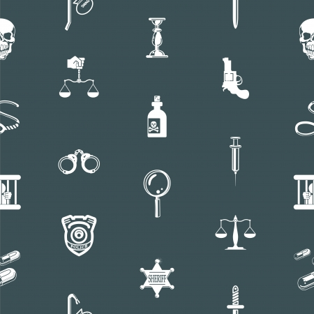A repeating seamless crime, law or legal background tile texture with lots of icons of different items related to crime and law enforcement Stock Vector - 17560407