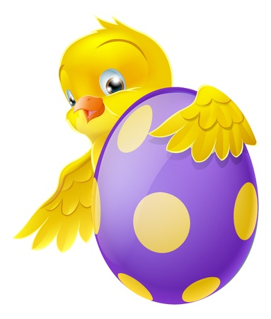 Cute Easter chick cartoon character holding onto and peeking round a painted chocolate Easter egg
