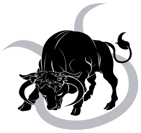 Illustration of Taurus the bull zodiac horoscope astrology sign