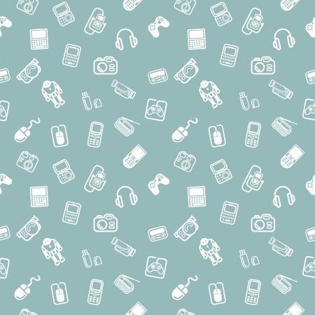 Powtarzający gadżety i bezszwowe tło tekstury technologii płytek z wiele różnych technologii i gadżetów ikon