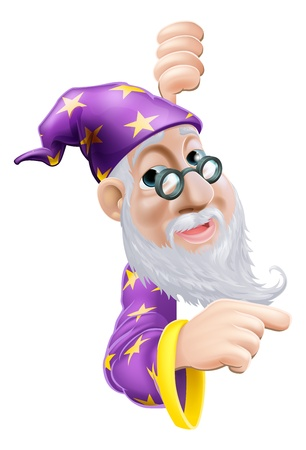 An illustration of a cute friendly old wizard character behind a sign or banner pointing a finger at it