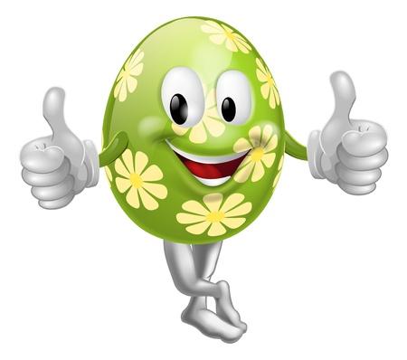 Eine Illustration von einem glücklichen Spaßkarikatur Osterei Maskottchen Charakter macht einen Daumen nach oben