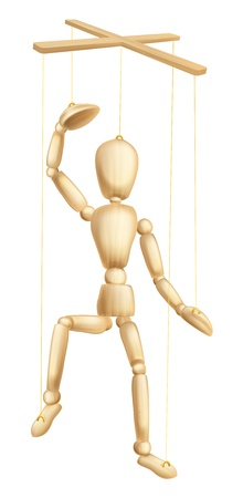 An illustration of a wooden marionette or puppet figure or man on strings Illustration