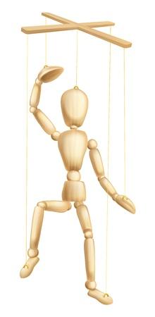 Een illustratie van een houten marionet of marionet figuur of man op strings