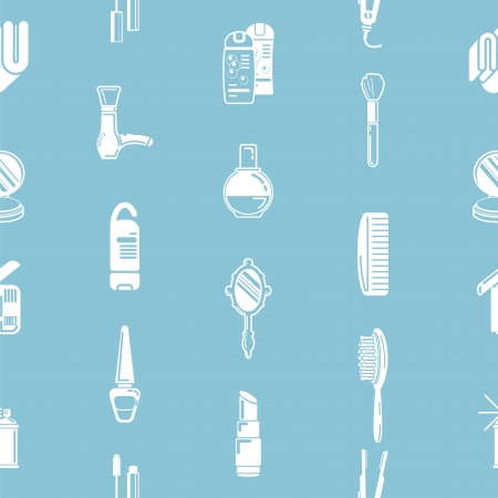Une répétition seamless texture tuile de fond cosmétiques avec beaucoup de dessins de différents produits cosmétiques et produits de beauté Vecteurs
