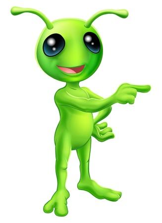 Una ilustración de un extraterrestre verde de dibujos animados lindo apuntando con un dedo y que muestra algo
