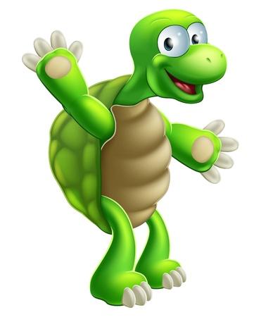Une illustration d'une tortue mignonne de bande dessinée ou ondulation caractère tortue