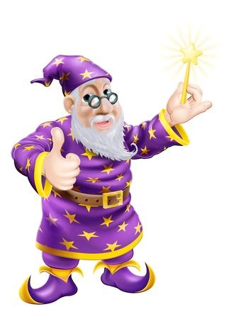 Een tekening van een leuke vriendelijke oude tovenaar karakter met een toverstokje en het geven van een duim omhoog