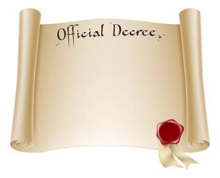 旧式な歴史的証明書スクロール文書又は法令の赤い封ろうの背景のデザイン要素。