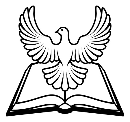 Biblia cristiana con el Espíritu Santo en forma de paloma blanca.