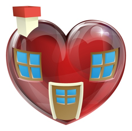 A heart shaped house concept, concept for finding the perfect house or home. Useful for any real estate or estate agent related use